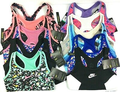 GIRLS Nike SPORTS BRA Medium Support M L & XL Ages 10 - 15 Var Colours New BNWT