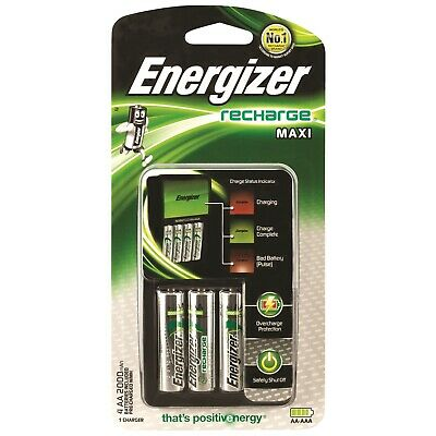 ENERGIZER MAXI BATTERY CHARGER (INCLUDES 4 x AA 2000 mAh BATTERIES)