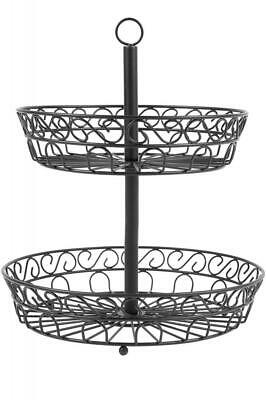 Chefarone 2 Tier Fruit Bowl - Countertop Metal Basket - Black Bowls Vintage...
