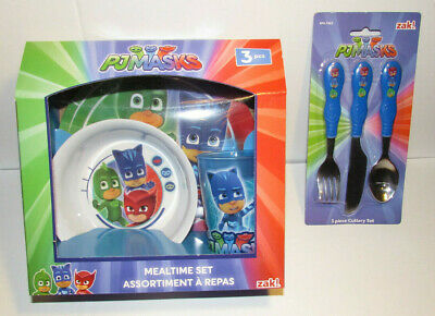 PJ Masks mealtime set and cuttlery new child cup bowl plate knife fork spoon