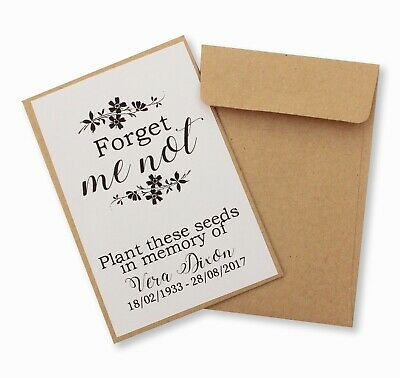 100 x Funeral forget me not seed packet envelope favours personalised memorial