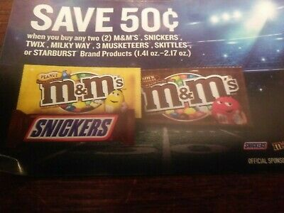 """M&M's,Snickers,Twix,Skittles,or Starburst Candy Coupons """"5coupons"""""""