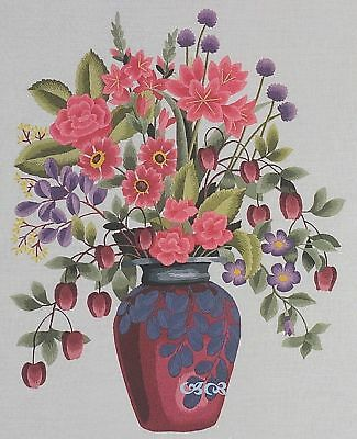 Elsa Williams CRIMSON FLORAL VASE Floral Crewel Embroidery Kit Michael A LeClair