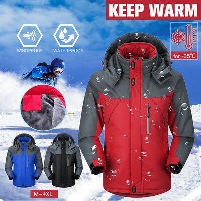 Men's Winter Warm Outdoor Jacket Fleece Lined Windproof Coat Waterproof Ski