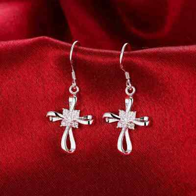 Women Fashion Jewelry 925 Sterling Silver Plated Small Cross Dangle Earrings