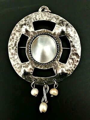 Antique Scottish Arts & Crafts Silver & Pearl Brooch / Pendant c.1910 Mary Thew?