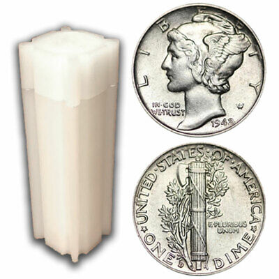 Roll of 50 $5 Face 90% Silver Mercury Dimes XF to AU
