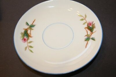 Haviland & C0 Limoges Saucers (4)  Rose Moss Pattern Blue Trim 1880's Antique