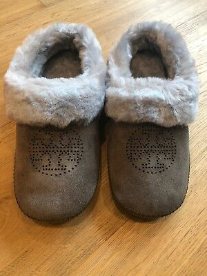740c2c5a16a7 NWB Tory Burch Coley Perforated Slipper Split Suede Size 7 Elephant Gray