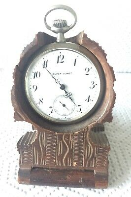 Bavarian Carved Walnut Antique Tree Shaped Stand Thomas Super Comet Pocket Watch