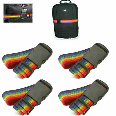4 Travel Luggage Suitcase Strap Baggage Backpack Bag Rainbow Color Belt