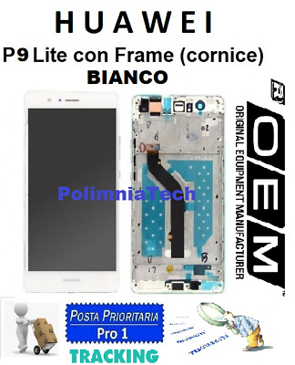 DISPLAY HUAWEI P9 Lite  BIANCO - DISPLAY LCD+TOUCH COMPLETO con FRAME OEM