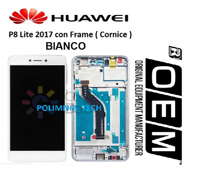 DISPLAY HUAWEI P8 Lite 2017  BIANCO - LCD+TOUCH COMPLETO con FRAME OEM