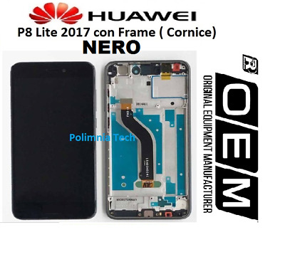 DISPLAY HUAWEI P8 Lite 2017  NERO - DISPLAY LCD+TOUCH COMPLETO con FRAME OEM