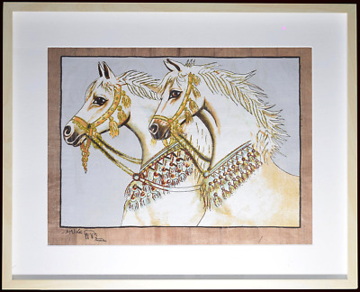 Egyptian Papyrus Painting of White Arabian Horses - Glow in the Dark