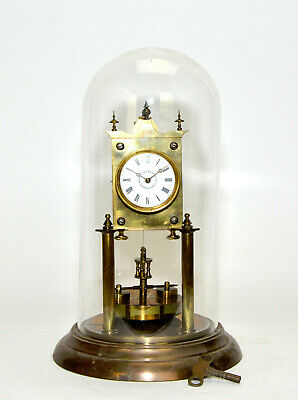 Antique German 400 Day Anniversary Torsion Mantle Clock with Glass Dome