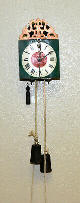 Rare Antique English Double Weight Brass Lantern Striking Wall Clock circa 1860