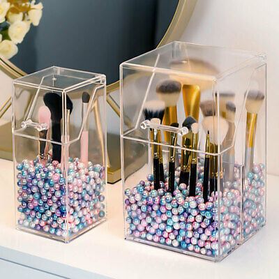 Pearl Transparent Acrylic Cosmetic Organizer Makeup Brush Container Storage Box