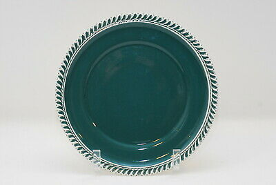 3 Harker Corinthian Pate Sur Pate Teal Green Dinner Plate Plates