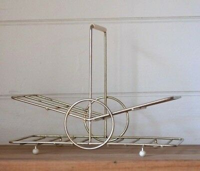 Vintage metal glass caddy mid century atomic carrier