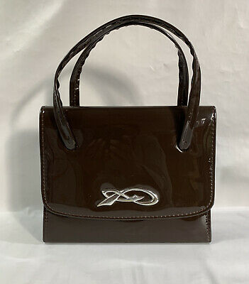 1960s Vintage Handbag Twiggy Style Patent Rich Brown Fabric Lining Kelly Bag