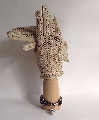 Polya 1950s Ivory Vintage Leather Front With Knitted Back Driving Gloves Size 7