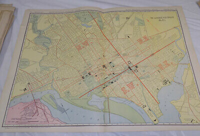 1900 Antique COLOR Map /// WASHINGTON, DC, published by Rand McNally