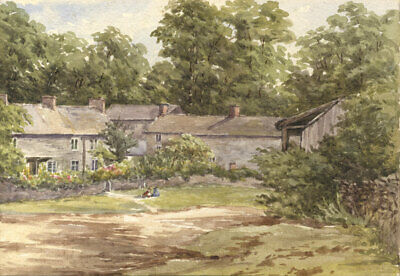 M.S. Russell - 1899 Watercolour, At Tissington