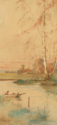 Art Late 19th Century Watercolour River Landscape