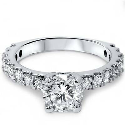 1 1/2ct Round Cut Enhanced Diamond Engagement Ring 14K Solitaire White Gold
