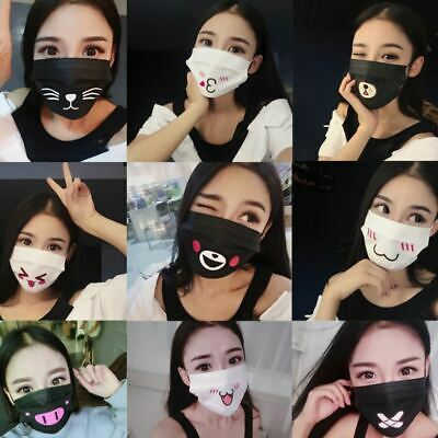 10Pcs Fashion Unisex Anti-Dust Cotton Mouth Face Disposable Mask with Word/Emoji