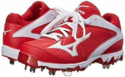 7413fcbad039 New Women's Mizuno 9-Spike Swift 4 Metal Fastpitch Softball Cleats Red Whit  sz 8
