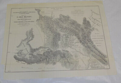 c1870 Antique Map/LAKE HENRY & SOURCES OF WEST FORK OF SNAKE RIVER, IDAHO
