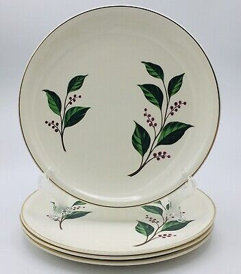 """Paden City H-55 Dinner Plates Red Berries Green Leaves Gold Trim 9 1/2"""" Set Of 4"""