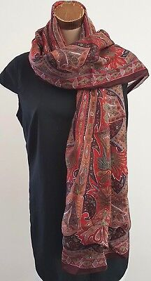 Vintage 80s Shades Red Plum Brown PAISLEY Rectangle Any Season Neck SCARF
