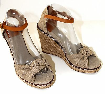 4545cc10f953 TORY BURCH MACY Wedge Espadrille Sandal Sz 10 Gold Dust Natural ...