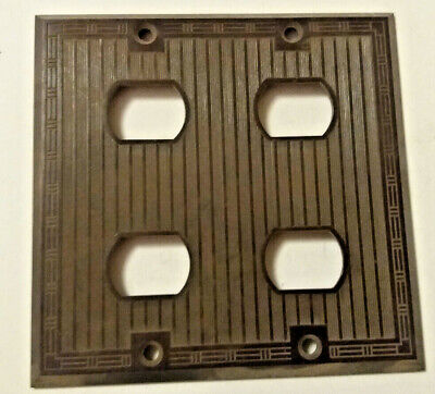 Vintage Uniline Bakelite Brown 4 Despard Switch Ribbed Wall Plate