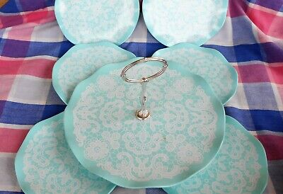 Set Melmac plates and Cake Stand Unused Blue Lace Tamco Made in Australia retro