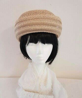 Vintage 80s OOHLALA Made in Italy CREAM Poly Rayon Turn Back Rim Dress Day HAT