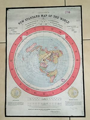 2xGleason New Standard Map of the World, +Aufkl. Erde Ist Flach, flat earth map