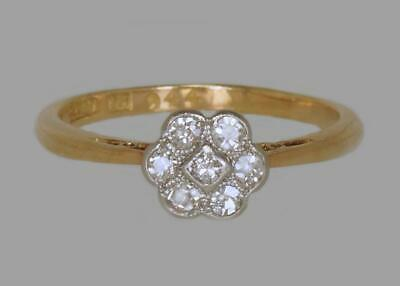 Antique 18ct Gold Old Cut Diamond Daisy Cluster Ring 1920's Art Deco / Edwardian