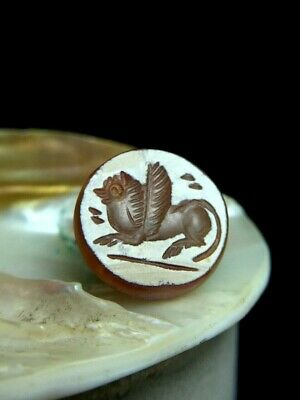 Original  antique Mythical Lucky Fairly flying Pegasus Roman Bead Crest Stamp