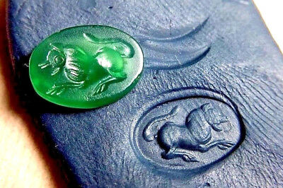 Antique intaglio Leaping Roaring Lion green agate Oval collectible For Ring