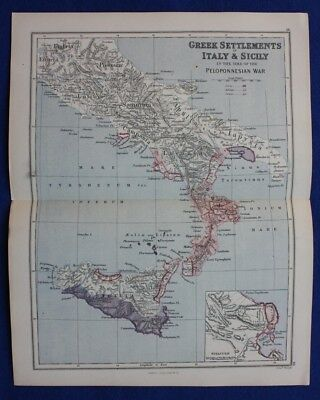 Original antique map ANCIENT SOUTHERN ITALY, SICILY, SYRACUSE, Weller, 1877