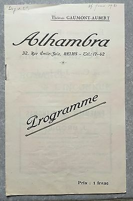 Programme ALHAMBRA Reims LEVY & CIE André Hugon LEON BELLIERE Marie Glory 1931