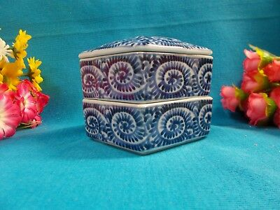 Lovely 2 Stack Trinket Box - Porcelain Blue And White - Excellent Condition #