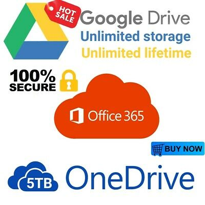 Unlimited Storage Google Drive On Existing Acc + 5Tb Onedrive + 365 New Acc . 📲
