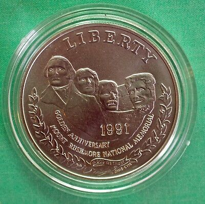 1991 Mount Rushmore BU 90% Silver Dollar Commemorative US Mint $1 Coin ONLY