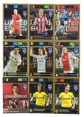 2015 2016 PANINI ADRENALYN XL FIFA 365 set of 10 LIMITED EDITION cards