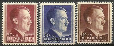 Germany Third Reich Occ. Poland Gen. Gvt. 1942 MNH Hitler 53rd Birthday Mi-89-91
